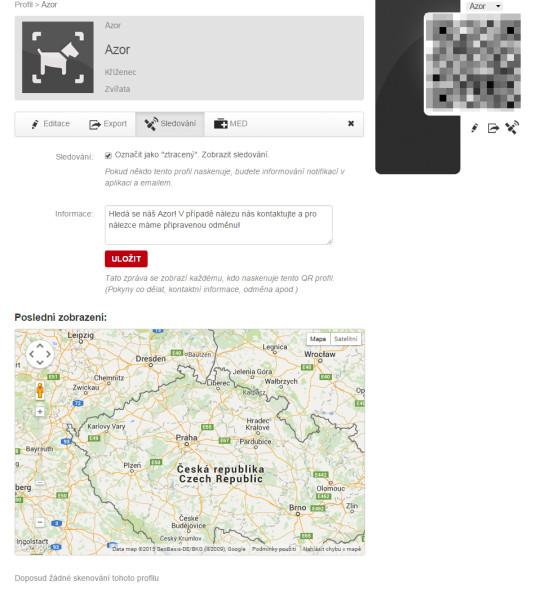 Nastavení SOS režimu v profilu psa